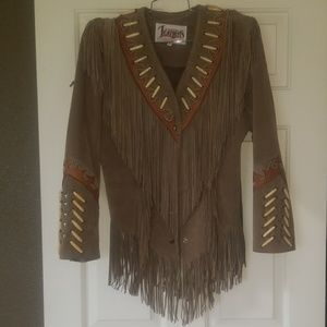 Diamond Leather Womens Bone and Fringe Jacket
